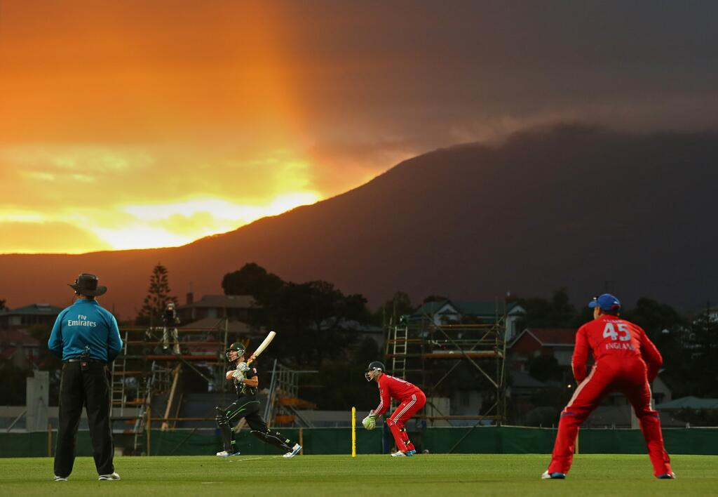 No, not played at a park somewhere, but a rather nice Hobart sunset over the Bellerive Oval construction site. Image: Cricket Australia on Twitter