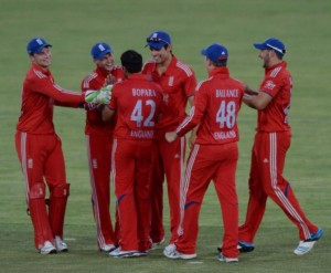 England celebrate the comical runout of Clive Rose at Manuka. Their 172-run win earned them a two-hour early mark. Image: ABC Grandstand