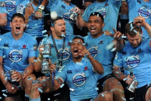 The Waratahs celebrate their Super Rugby championship win in Sydney on Saturday night. Image: ABC Grandstand