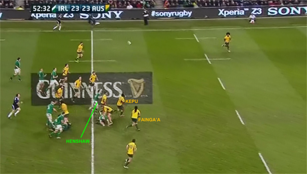 """Again, Folau was stationed deep at the back, at least near his only 22m again in this passage and out of shot in the image above. If we note that the grass is mown in different directions at five metre intervals, we can quickly work out that Folau is again at least 15 metres away from where this ball came down."""