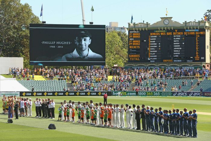 ustralian and Indian teams led the onfield tributes for the late Phillip Hughes, in Adelaide this morning. Image: ABC Grandstand
