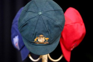 Phillip Hughes' NSW, Australian, and SA caps, from the service in Macksville on Wednesday. Images: ABC Grandstand