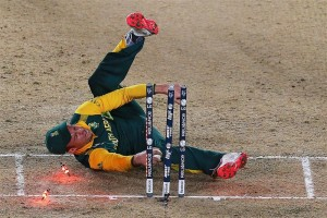 South Africa skipper AB de Villiers showed he was human in the CWC Semi on Tuesday night. Image: ABC Grandstand