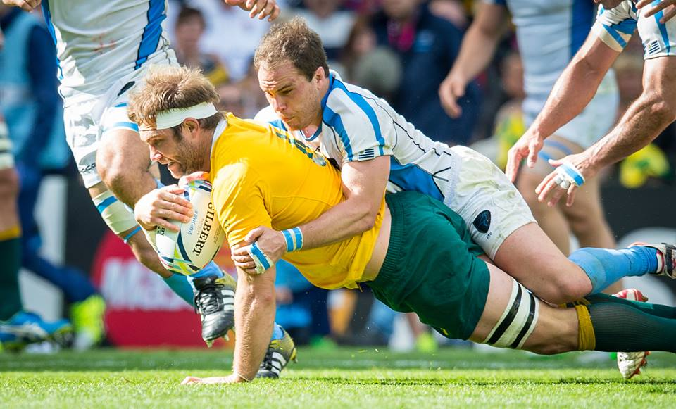 Wallabies backrower scores the second of his two tries v Uruguay on Sunday. Image via Wallabies Facebook