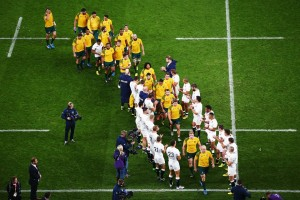 England clap the Wallabies off Twickenham on Saturday, after their 33-13 win to end the hosts' RWC. Image via Wallabies Facebook.