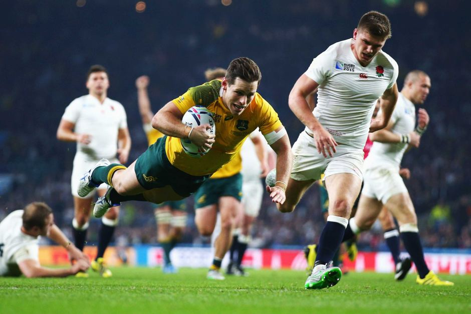 Bernard Foley crosses for his second try against England, in the Wallabies 33-13 RWC win. Image: ABC Grandstand
