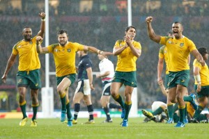 Wallabies players react as Bernard Foley's 79th minute penalty is successful. Image: ABC Grandstand