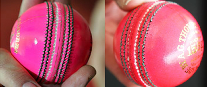 Kookaburra have tried 16 different shades of pink in getting from the original 'classic pink' (left) to what I dubbed 'highlighter pink' (right), which will be used this week in Adelaide..