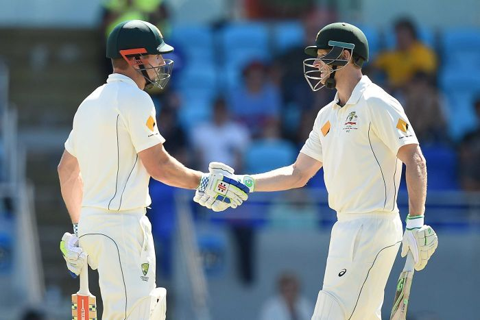Shaun Marsh (left) and Adam Voges took Australia from a nervous position just after Lunch, to a completely dominant position by Stumps. Image: ABC Grandstand